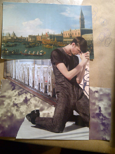 "Michelle Casey, ""Lost Boy"", Collage in progress, July 2011"