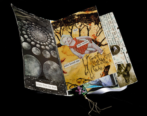 "Pages 1/2 of my mini book for Gillian Jansen, 3.5 x 5 inches (approx.), Collage/Mixed Media, January 2011, Text: ""Letters from the dead... the lost souls who loved me..."""