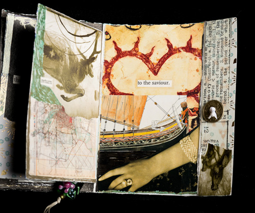 "Pages 4/5 of my mini collage book for Gillian Jansen, 3.5 x 5 inches (approx.), Collage/Mixed Media, January 2011, Text: ""return... to the saviour"""