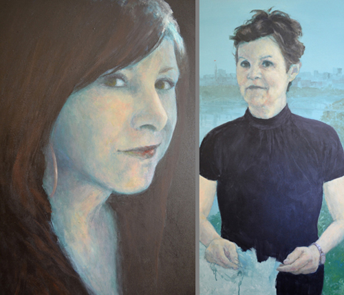 "David Kearn: (Left) ""Carolyn by Moonlight"" (detail of niece), Oil and Acrylic on Canvas; ""On Both Sides"" (detail of wife France), Acrylic on Canvas"