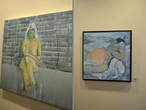 "David Kearn, (Left) ""Disquiet"", Acrylic on Canvas; ""In a Landscape"", Oil on Canvas"