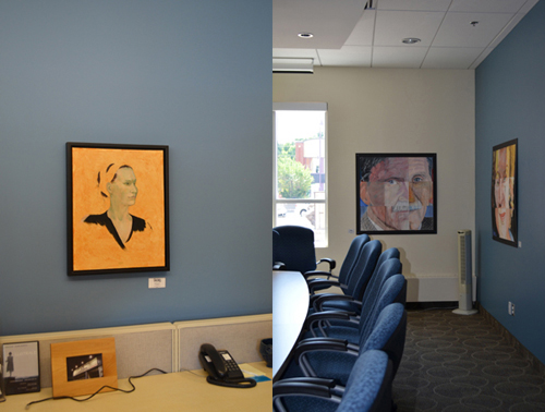"The work of David's students on the right: ""A Sum of Parts"" (Lieutenant-General Roméo Dallaire; side view of writer Margaret Atwood), Various Media"