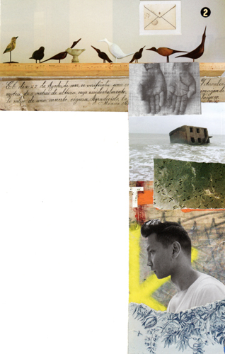 Michelle Casey, Collage Letterhead 2, 5.5 x 8.5 inches, Photocopy: magazine images, stickers, November 2012