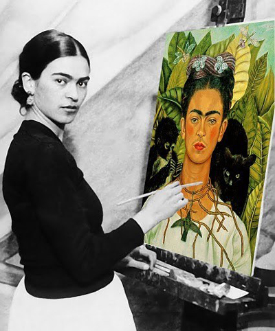 Frida Kahlo painting a stunning self-portrait