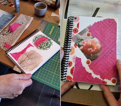 Johanne Leveille's journal pages are inspired by Zen gardening and Shodoo. The characters on the top left page signify the words filial and kindness or a positive feeling related to thoughtfulness.