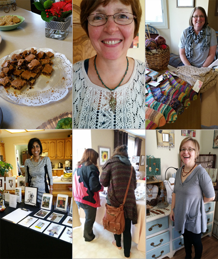 Top left to right: Sharon's famous butter tart squares; Wendy's sister Nancy; Sharon Michaelson; Michelle Casey; Visitors to the Studio and Wendy Southin, November 2014